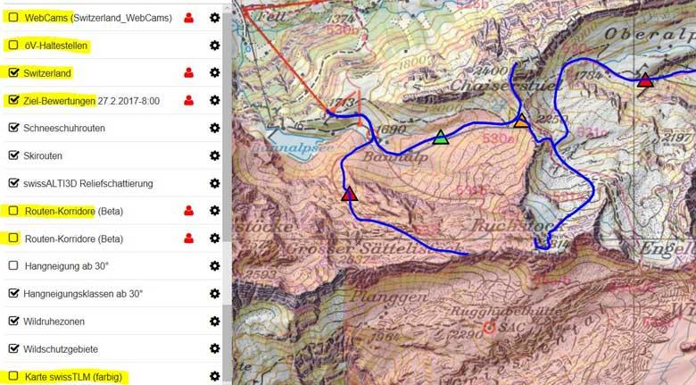 Skitouren-Planungskarte